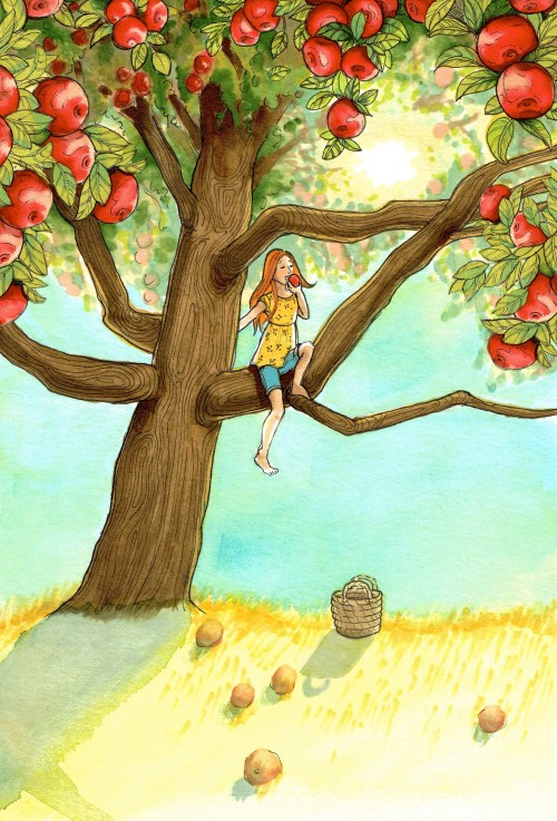 Girl in Apple Tree